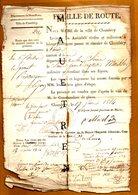 FEUILLE DE ROUTE 1814 . Département Du MONT-BLANC . Ville De CHAMBERY - Documentos Históricos