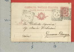 CARTOLINA POSTALE VG ITALIA - Tipo Floreale V. Emanuele III - GEMONA PIOVEGA  1907 - S. CP30 MILL. 05 - Postwaardestukken