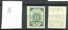 Lettland Latvia 1919 Michel 18 Y (senkrecht Geriffeltes/ribbed Paper) (*) - Lettland