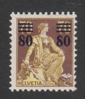 Schweiz, 1915,  Zu  135* PF Offene Acht 80/70 Rp. Mit Erstfalz, Sauber,  Siehe Scan! - Unused Stamps