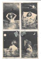 11136 - Lot De 4 CPA Fantaisie, Femmes, Série Les Ondines - Donne