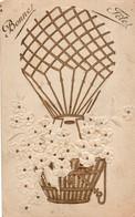 Carte Gauffrée Montgolfière Et Fleurs - Bonne Fête - Montgolfières