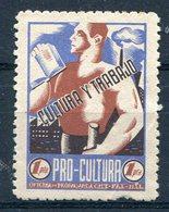 REPUBLICA-POLITICAS    Pro Cultura  1 Pts  -135 - Spanish Civil War Labels