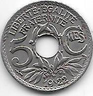France 5 Centiemes 1922 Tb  Km 875  Vf+ - C. 5 Céntimos