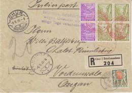 Schweiz, 1935, R-Brief, Julierpost, Chur, Vorderseite  Nach Vordemwald, Taxiert  ,  Siehe Scan! - Covers & Documents