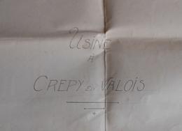 Plan De Construction D'une Usine à Crépy En Valois - Probablement Établissements Menot Frères Et Deneuville - Architecture