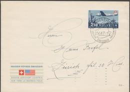 Schweiz, 1947 Flugpost, Brief,  Siehe Scan! - Cartas