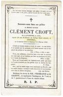 Clément CROFT - Doodsprentje - Liverpool 1806 - Courtrai 1868 - Professeur Au Collége  Saint-Amand - Images Religieuses