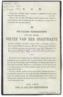 Pieter Van Der OUGSTRAETE - Doodsprentje - Pastoor Brugge - Kortrijk Pastoot St Maertens Overleden 29 Maert 1864 - Devotion Images