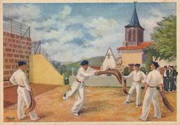 Pelote Basque Chistera Navarre St Jean Pied De Port  Format 10/15 Signée Homualk - Cartes Postales