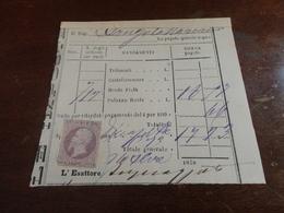 MARCA DA BOLLO DA 5 CENTESIMI SU DOCUMENTO-1878 - Steuermarken