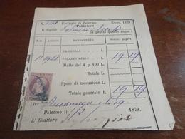 MARCA DA BOLLO DA 5 CENTESIMI SU DOCUMENTO-1879 - Steuermarken