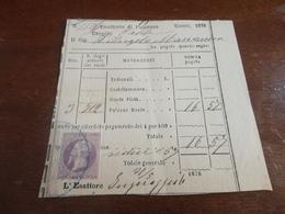 MARCA DA BOLLO DA 5 CENTESIMI SU DOCUMENTO-1878 - 1878-00 Umberto I