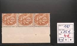 [816483]France 1900 - N° 110, 4c Brun-jaune, Triplette, Bdf - 1900-29 Blanc