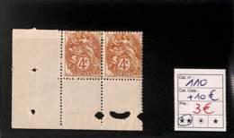 [816484]France 1900 - N° 110, 4c Brun-jaune, Paire, Cdf - 1900-29 Blanc