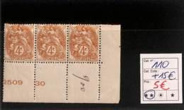 [816485]France 1900 - N° 110, 4c Brun-jaune, Inscriptions Marginales, Triplette, Cdf - 1900-29 Blanc