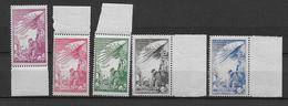 TIMBRES DE BIENFAISANCE PTT - 1945 - YVERT N° 37/41 ** - COTE = 53 EURO - Erinnophilie