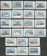 Russia USSR 1984 Year , 24 Matchbox Labels  Ships - Boites D'allumettes - Etiquettes