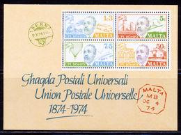 MALTA, 1974, U.P.U. Centenary S/s  MNH - Malte