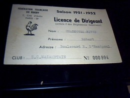 Document Federation Francaise De Rugby Saison 1951/1952 Licence De Dirigeant Club S.C. Mazametain - Rugby