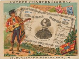 Chromo Pub  Soie Coton Charpentier Machine Coudre Billet Banco De Espana Banknote - Monnaies (représentations)