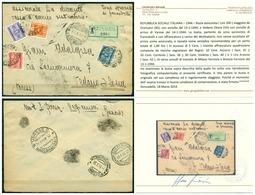 V6397 ITALIA 1944 R.S.I. Lettera Assicurata Da Orzinuovi (BS) A Vedano Olona (VA)tassata In Arrivo Con 4 Val. Segnatasse - 4. 1944-45 Social Republic