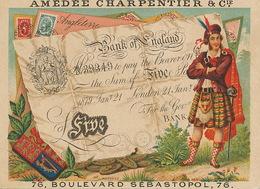 Chromo Pub  Soie Coton Charpentier Machine Coudre Billet Bank Of England Banknote Kilt - Monnaies (représentations)