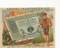 Chromo Pub  Soie Coton Charpentier Machine Coudre Billet German Bank Mark Banknote - Monnaies (représentations)