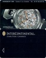 InterContinental Carlton Cannes Bovet Watch--Hotel Room Keycard, Room Keys, Hotelkarte, Clef De Hotel-- 2130 - Hotel Keycards