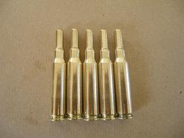 5 Cartouches à Blanc Cal 7,62X51 En Cuivre. - Equipment