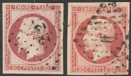 France Yvert 17A, 17Aa Oblit. TB Luxe Cote EUR 140+  (numéro Du Lot 465C) - 1853-1860 Napoléon III