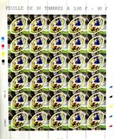 FRANCE - COUPE DU MONDE DE RUGBY 1999 N° 3280 - HÉLIOGRAVURE - FEUILLE DE 30 TIMBRES NEUFS** NON PLIÉE - Hojas Completas