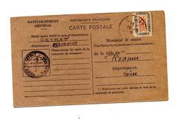 Carte De Ravitaillement Cachet Ceyrat - Marcophilie (Lettres)