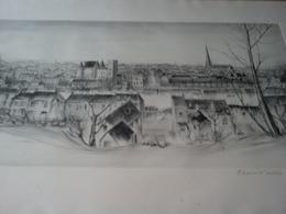 """Litho. Nemours R.W. THOMAS """"épreuve D'artiste"""" -lithographie 76,5 X 56,5cm Encadrée Sous Verre -SEINE-et-MARNE -château - Lithographies"""