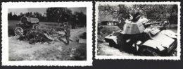 Guerre 1940-1945, Lieu Non Identifié? épave Tank +attelages Et Cadavres De Chevaux+soldats Allemands.2photos Véritables - War, Military