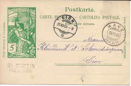 1900 Rare Cachet Linéaire St. MARTIN PRES SION  + MAGE (VALAIS), Entier Postal UPU 5 C. Vert, Pour SION, WALLIS - Ganzsachen