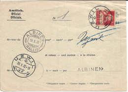 Cachet Linéaire ALBINEN + ALBINEN (WALLIS) Sur Formulaire Officiel Buste Tell, 1932 UZWIL St-Gall, Non Remise De Colis - Schweiz