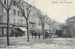 PRIVAS COURS DE L'ESPLANADE ANIMEE 1905 CAFE DE LA PAIX ,HORLOGERIE, MAISON UNIVERSELLE, EDIT. BRUN CARPENTRAS - Privas