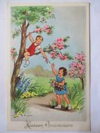 """Illustration J. Lagarde - Enfants Jouant - """"Heureux Anniversaire"""" - CPSM 9x14   TBE - Otros Ilustradores"""