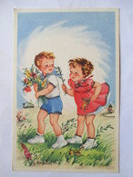 Illustration J. Lagarde - Couple D'Enfants - Bouquet De Fleurs - Paillettes  - CPSM 9x14   TBE - Künstlerkarten
