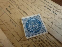 TELEGRAMMA CON FRANCOBOLLO  TELEGRAFI DELLO STATO - 1884 - Steuermarken