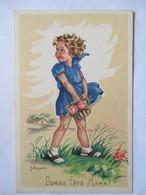 """Illustration J. Lagarde - Fillette - Panier De Fleurs - """"Bonne Fête Maman""""  - CPSM 9x14   TBE - Other Illustrators"""