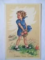 "Illustration J. Lagarde - Fillette - Panier De Fleurs - ""Bonne Fête Maman""  - CPSM 9x14   TBE - Künstlerkarten"