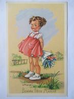 """Illustration J. Lagarde - Fillette - Bouquet De Fleurs - """"Bonne Fête Maman""""  - CPSM 9 X14   TBE - Illustratori & Fotografie"""