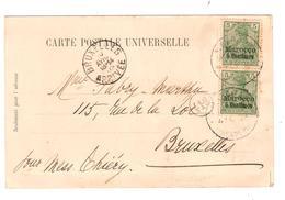 2858/ Reichpost Marocco C.Marrakesch 1903 N.Belgien BXL Petite Déchirure-kleine Träne - Offices: Morocco