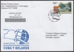 2012-FDC-60 CUBA FDC 2012. REGISTERED COVER TO SPAIN. DIPLOMATIC RELATIONSHIP BELARUS, BIELORUSIA, RUSIA, RUSSIA. - FDC