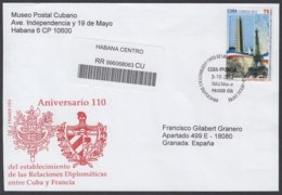 2012-FDC-64 CUBA FDC 2012. REGISTERED COVER TO SPAIN. DIPLOMATIC RELATIONSHIP FRANCE, FRANCIA, - FDC