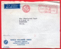 1957 MAPPA OLANDA SU METER STAMP EMA FREISTEMPEL AFFRANCATURA MECCANICA DA VENEZUELA PER HONG KONG CHINA - Venezuela