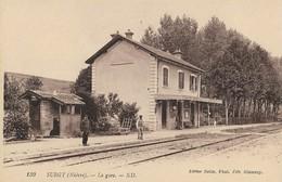 CARTE POSTALE ORIGINALE ANCIENNE : SURGY LA GARE  ANIMEE NIEVRE (58) - France