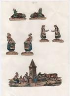 Découpages/ Gravures / Fermières Et Fontaine / Colorisées/ Encollés/ Vers 1850-1880  JE222 - Autres